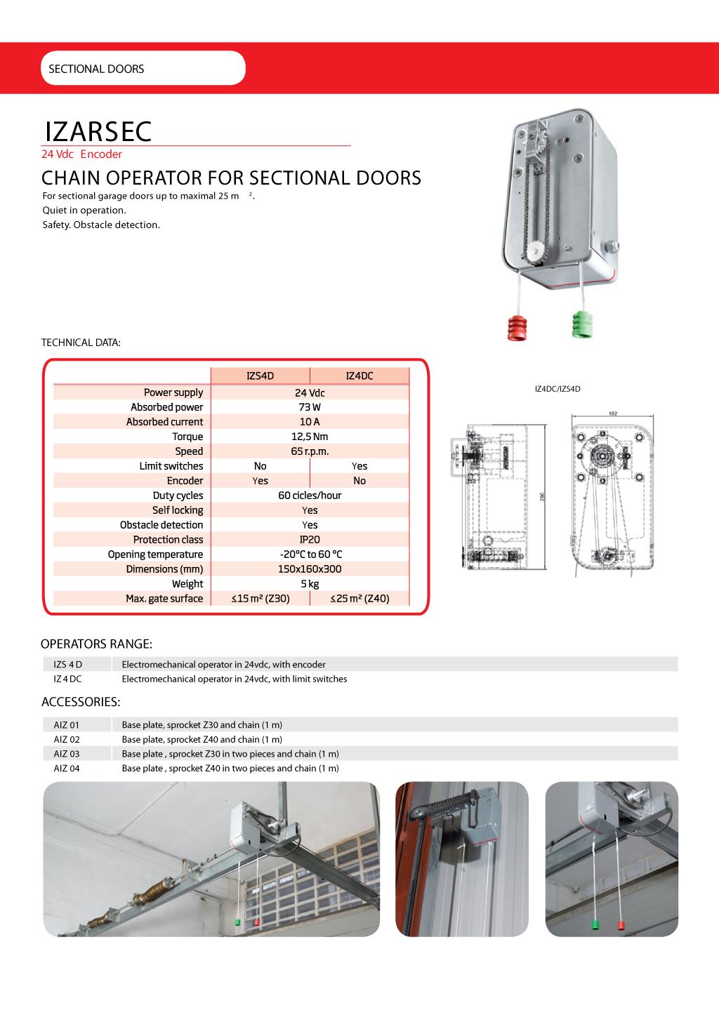 Автоматика для промышленных ворот Erreka IZARSEC - технические характеристики