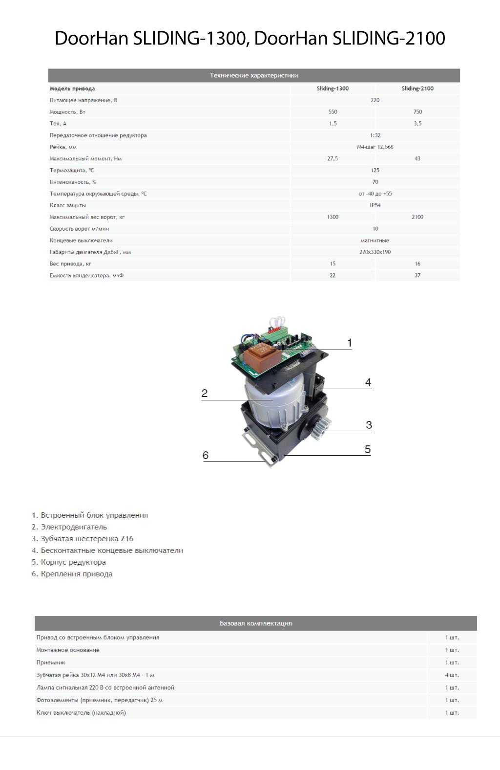 Автоматика для откатных ворот DoorHan SLIDING-1300, SLIDING-2100 - Технические характеристики