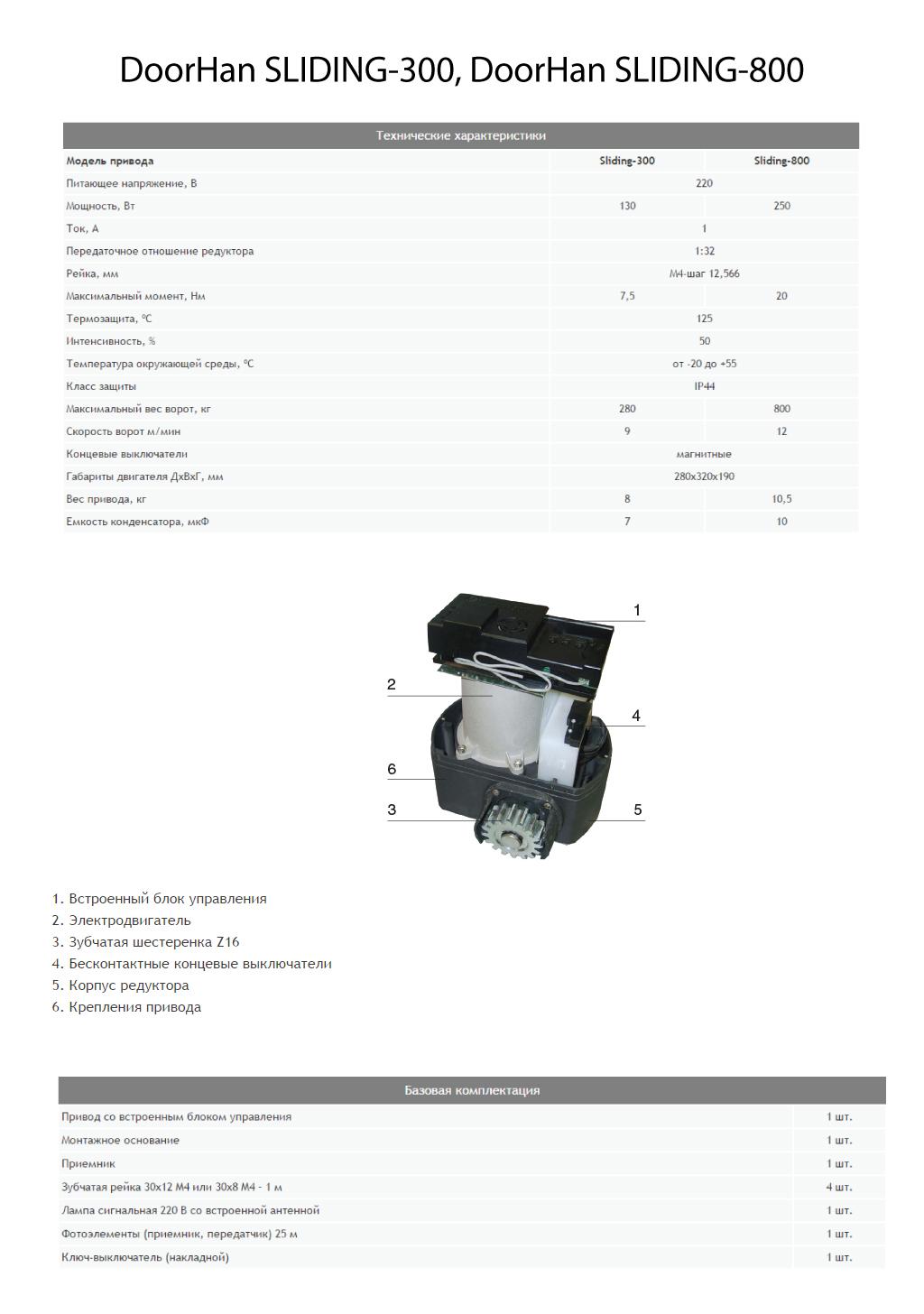 Автоматика для откатных ворот DoorHan SLIDING-300, SLIDING-800 - технические характеристики